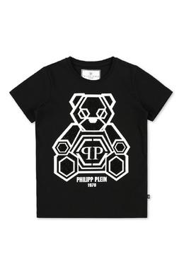 Черная футболка принтом и кристаллами Philipp Plein 1795182326