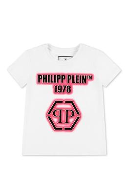 Белая футболка с розовым принтом Philipp Plein 1795182337
