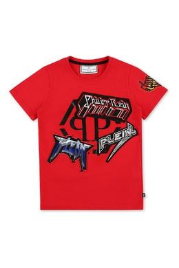 Красная футболка с декором Philipp Plein 1795182300