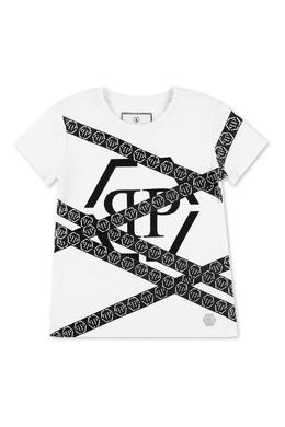 Белая футболка с черными принтами Philipp Plein 1795182303
