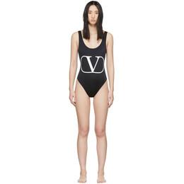 Valentino Black VLogo One-Piece Swimsuit TB3UH00I22E