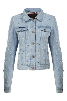 Голубая куртка со стразами Philipp Plein 1795182462