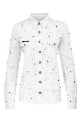 Белая рубашка со стразами Philipp Plein 1795182531