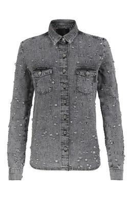Серая рубашка из денима со стразами Philipp Plein 1795182536