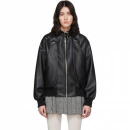 We11Done Black Faux-Leather Buckled Neck Bomber Jacket WD-F56-20-024-W-BK