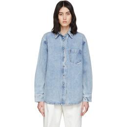 Alexander Wang Blue Denim Oversized Shirt 4DC1202592