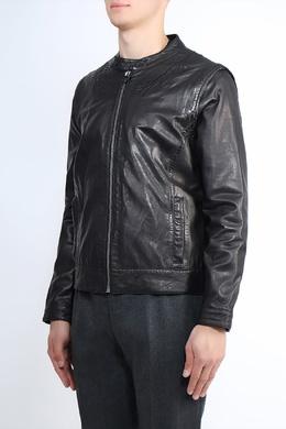 Черная куртка из кожи с вышивкой Frankie Morello 1482182627