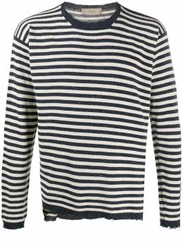 Maison Flaneur striped distressed jumper 20SMUSW781FS008