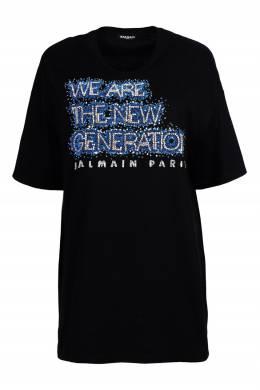 Черная футболка с декором Balmain 88183717