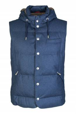Синий стеганый жилет Brunello Cucinelli 1675183658