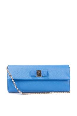 Голубая сумка на цепочке Salvatore Ferragamo 510183679