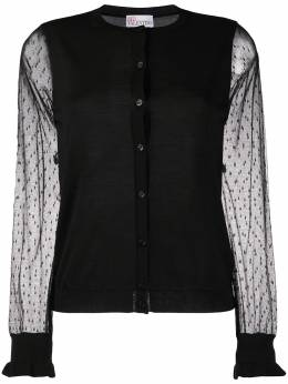 Red Valentino tulle sleeves cardigan TR3KAA614Y8