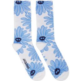 Jacquemus White and Blue Les Chaussettes Fleurs Socks 205AC08-205 7234E