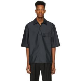 3.1 Phillip Lim Black Oversized Chintz Poplin Polo Shirt S201-2342CTZM