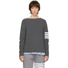 Thom Browne Grey 4-Bar Stitch Sweater MKA275A-04482