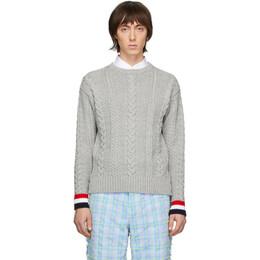 Thom Browne Grey Merino Aran Cable Sweater MKA277A-00014
