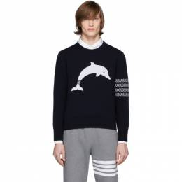 Thom Browne Navy Dolphin Icon Sweater MKA281A-00014