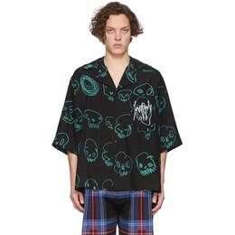 Charles Jeffrey Loverboy Black Oversized Skulls Print Hawaiian Short Sleeve Shirt CJLSS20OHS