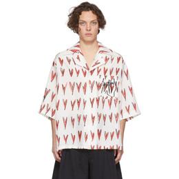 Charles Jeffrey Loverboy Off-White Oversized Hearts Print Hawaiian Short Sleeve Shirt CJLSS20OHS