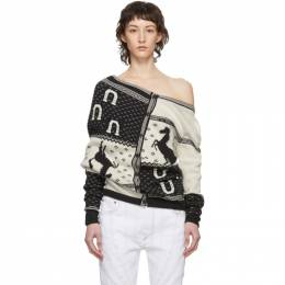 Y / Project Navy and White Horse Print Cardigan WMPULL33-S18