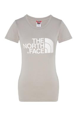 Бежево-серая футболка с логотипом The North Face 2717116414