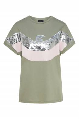 Оливковая футболка с пайетками Emporio Armani 2706183903