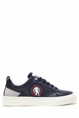 Серо-синие кожаные кроссовки Bikkembergs 1487183436