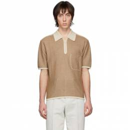 Lemaire Brown and Off-White Knitted Polo M 201 JE165 LJ050