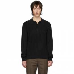 Lemaire Black Knit Long Sleeve Polo M 201 KN187 LK091