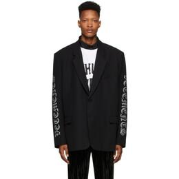 Vetements Black Gothic Logo Tailored Blazer SS20JA143