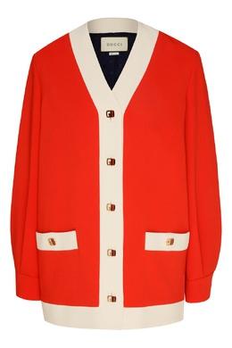 Бело-красный кардиган из вискозы Gucci 470183855
