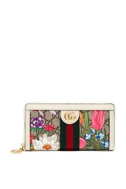 Прямоугольный кошелек GG Supreme Flora Ophidia Gucci 470183837