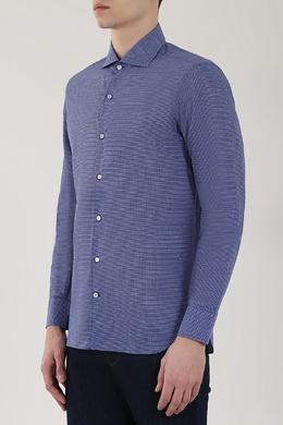 Синяя рубашка в белую клетку Loro Piana 672183812