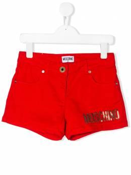 Moschino Kids TEEN sequinned logo shorts HDQ005LTC03