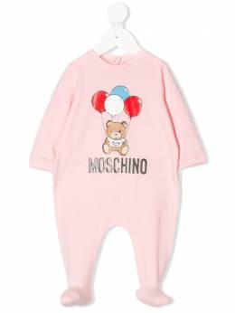 Moschino Kids комбинезон для новорожденного с логотипом и принтом MUT01JLBA00