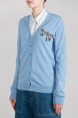 Голубой кардиган с аппликацией Rochas 184183480