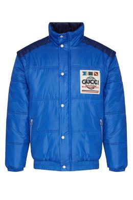 Сине-голубая куртка со съемными рукавами Gucci 470184319