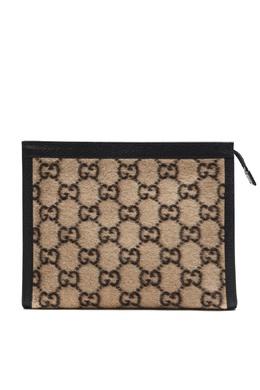 Клатч из шерсти и кожи с монограммами Gucci 470184312