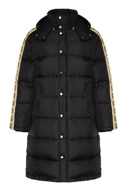 Черный жаккардовый пуховик с логотипами Gucci 470184363