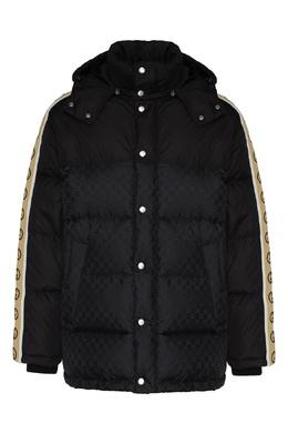 Черная куртка-пуховик с логотипами Gucci 470184365