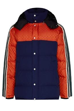 Разноцветный пуховик с жаккардовыми вставками Gucci 470184383