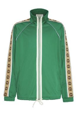 Зеленая олимпийка с жаккардовой логотипной лентой Gucci 470184378