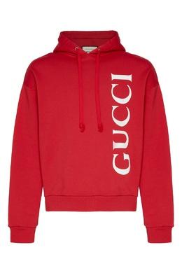 Красное худи с крупным белым логотипом Gucci 470184373