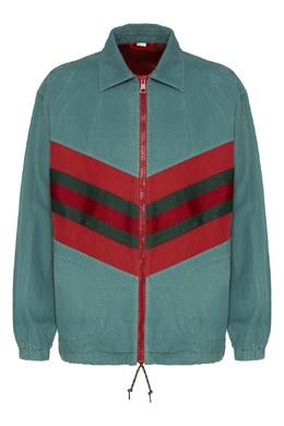 Мятно-зеленая куртка с контрастными шевронами Gucci 470184347