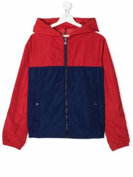 Moncler Kids hooded block colour zipped jacket 1A7012054543