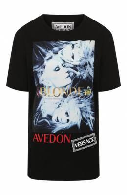 Хлопковая футболка Versace A84798/A228806