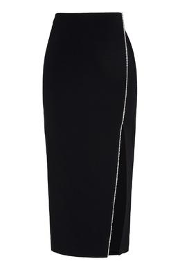 Черная юбка с разрезом и кристаллами David Koma 286184371