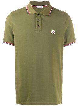 Moncler striped trim polo shirt 8A7030084556