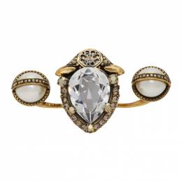Alexander McQueen Gold Signature Jeweled Double Ring 610977J160T