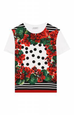 Хлопковая футболка Dolce&Gabbana L5JT9H/HP5TU/2-6